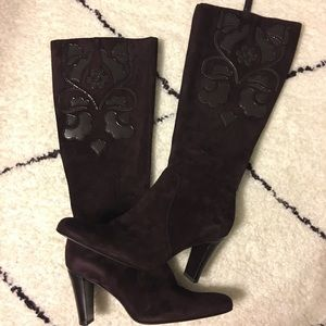 Brown Suede Tall Boot w/ Patent Floral Detail